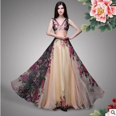 Vestidos De Fiesta Elegant Vintage Prom Dresses 2018 A Line V Neck Long  Chiffon Foral Print Wedding Party Gowns Robe De Soiree f13d3e3b7420