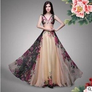 Image 3 - Vestidos דה פיאסטה Vintage שושבינה שמלות קו אלגנטי V צוואר ארוך שיפון הדפסה אוטונומי מסיבת חתונת כותנות Robe דה soiree