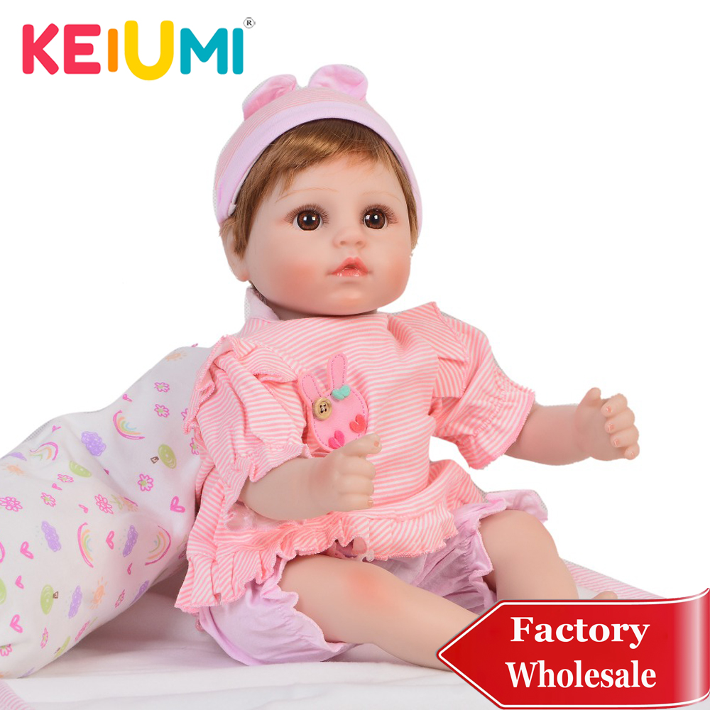 Adorable 18 Reborn Baby Girl Silicone Body 48cm Charming Reborn Baby Doll Stuffed with Pillow For