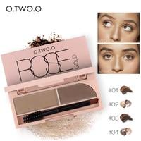 O.TWO.O 2 in 1 Brown Black Eye Brow Powder Waterproof Makeup Eye Liner Gel Lasting Eyebrow Eye Brow Cream Cosmetic Brush+Mirror
