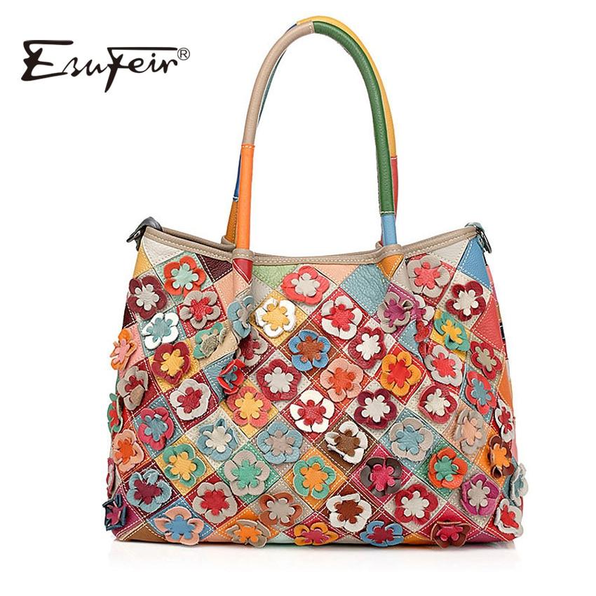 ESUFEIR Brand Genuine Leather Women Handbag Colorful Cow leather Patchwork Shoulder Bag Fashion Flowers Women Crossbody