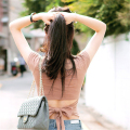 Fashion 2016 Korean Stylish Sexy Back Bow Cropped T Shirt Women Cotton Short Sleeve t-shirt Fashion Solid Backless Crop Top A528