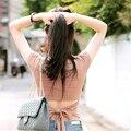 Moda 2016 Coreano Elegante Sexy Arco de Volta Camisa Cropped T mulheres de Algodão de Manga Curta t-shirt Da Forma Sólida Sem Encosto Topo Colheita A528