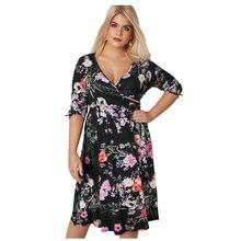 Vintage Style Plus Size Dresses for Women 3 4 Length Tie Sleeves Floral Jersey  Wrap Dress LC610046 Vestidos De Festa 2XL-4XL 6d173b095eb1