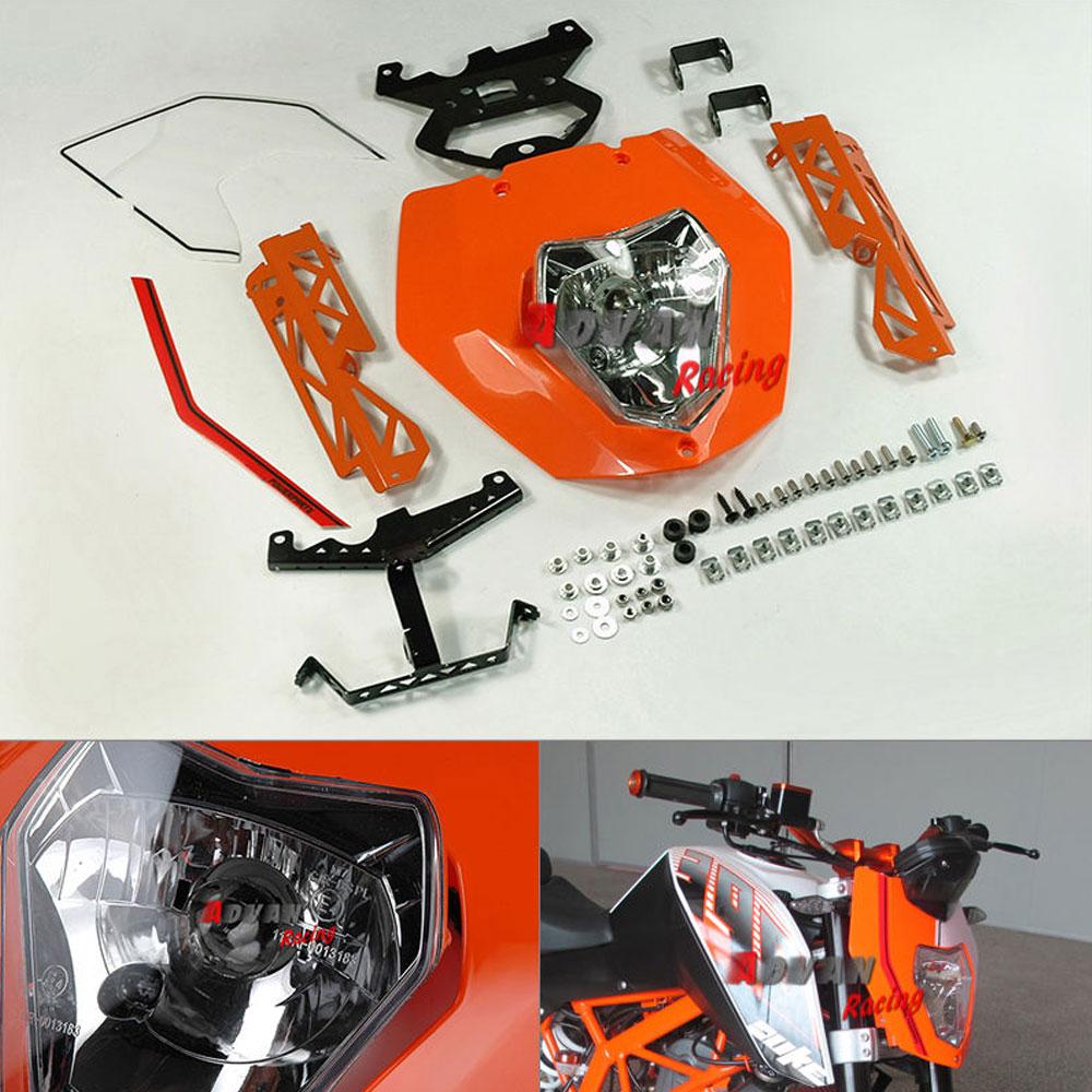 Emark Orange Headlight Mask Lights Assembly Bracket For KTM 125 200 390 Duke kemimoto black headlight mask lights cover for ktm 125 200 390 duke accessories 2016 new
