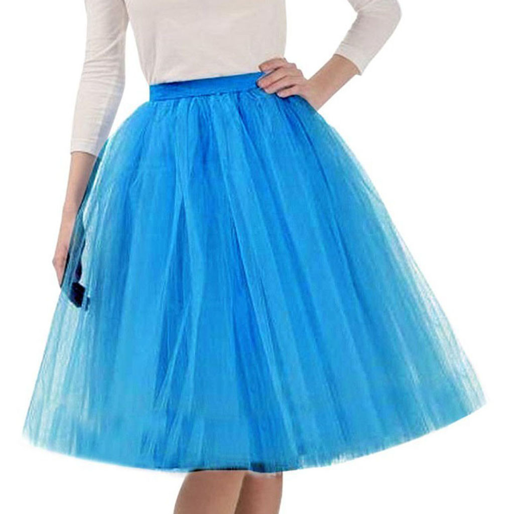 Summer Skirts Womens Womens High Quality Pleated Gauze Skirt Adult Tutu Dancing Skirt jupe femme #N05