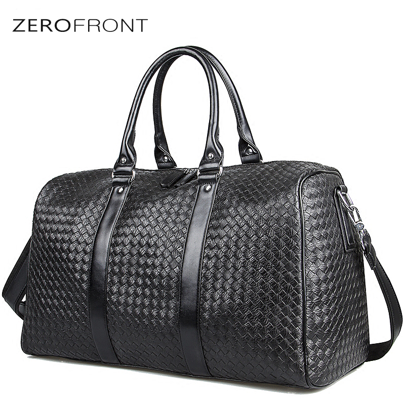 ZEROFRONT 2018 New Popular Design Woven Pattern PU Leather Portable Multi-function Handbag High Capacity Men's Travel Bag Black