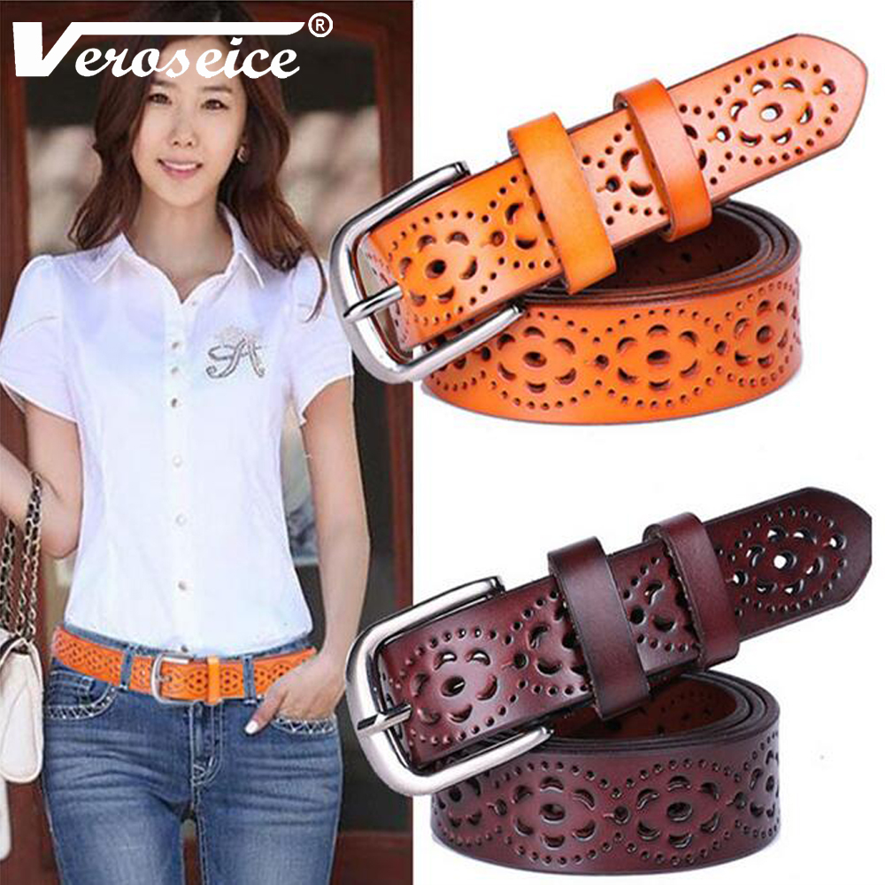 TG Hot Sale Unique Genuine Leather Women Belt Cowhide Punched Strap All Match Jeans Female