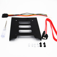 """2 3 3 2packs SSD HDD Mounting Bracket 3.5 to 2.5"""" Internal Hard Disk Drive Kit Cables 2.5 hard disk drive to 3.5 bay tray caddy (2)"""