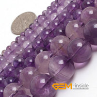 Round Shape Light Purple Amethyst Beads Strand 15 Free Shipping