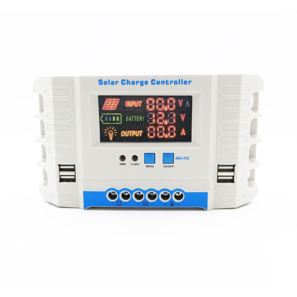 60A 50A 40A 30A <font><b>20A</b></font> 10A 24V <font><b>12V</b></font> Auto Solar Panel Battery Charge Controller PWM LCD Display Solar Collector Regulator USB two image