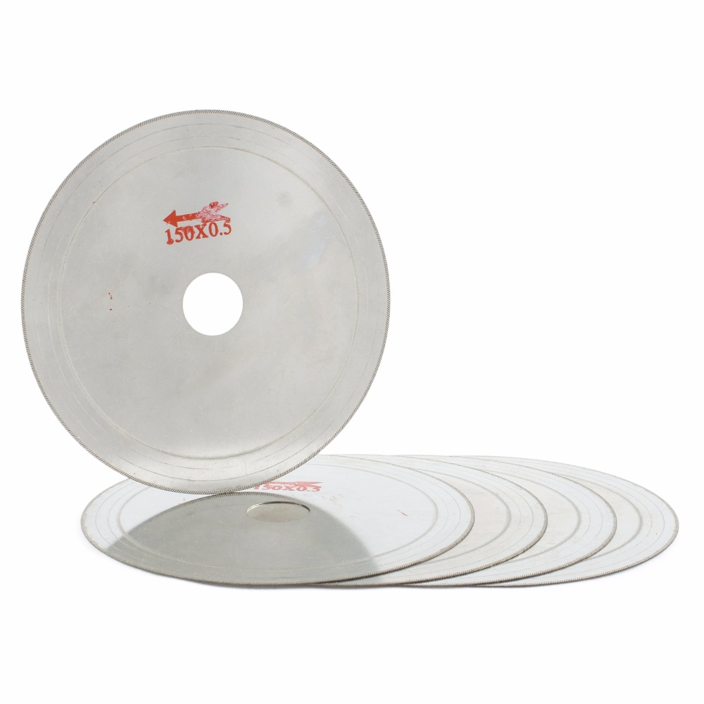 "5Pcs 6 ""pulgadas Super-Thin Arbor Hole 25mm Rim 0.6mm Diamond Lapidary Saw Blade Cutting Disc Saving in Material Jewelry Gems Agate"