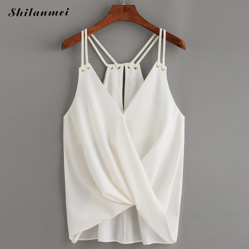 Fashion Cami Top Korean Style 2017 Summer Female Sexy Plain White Spaghetti Strap Cross Camisole Tank Top Chiffon Top for Women