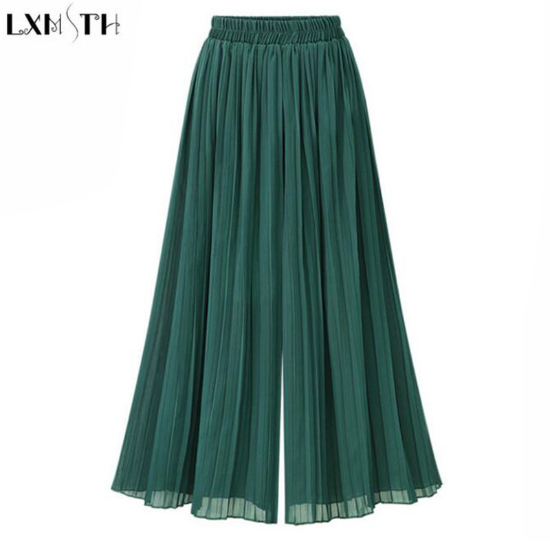 LXMSTH High Waist   Wide     leg     Pants   Elegante Fashion Pleated Loose Culotte Women Summer   Pants   2019 Elastic Waist Pantalon Mujer