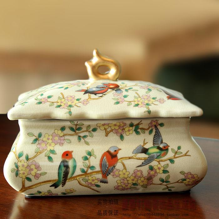 European style retro ceramic jewelry box crack flower bedroom Chinese Home Furnishing ornaments