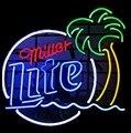 Пользовательские Миллер Lite пальмовое дерево стекло неоновый свет знак пивной бар
