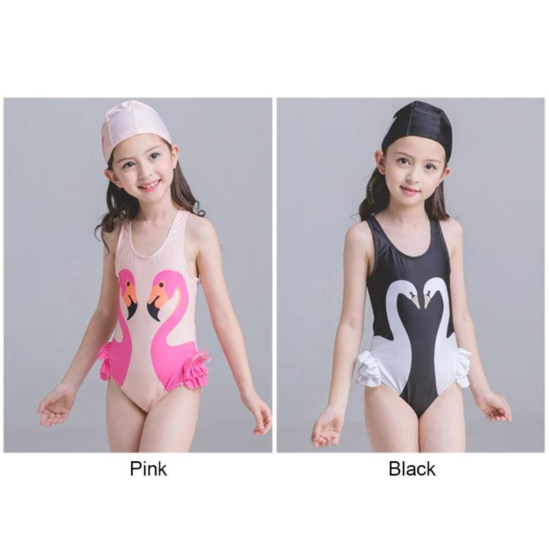 2018 Summer Girls Baby Children One-Piece Suits Swimwear Cute Kids Swan Print Bathing Suit Romper with Swimming Cap 1-7Y Gril