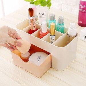 Image 1 - 1 sztuk organizator na przybory do makijażu przenośne z tworzywa sztucznego 6 w kratkę do przechowywania pudełko etui na szminki Organizador stojak wystawowy na lakier do paznokci 2019 Hot