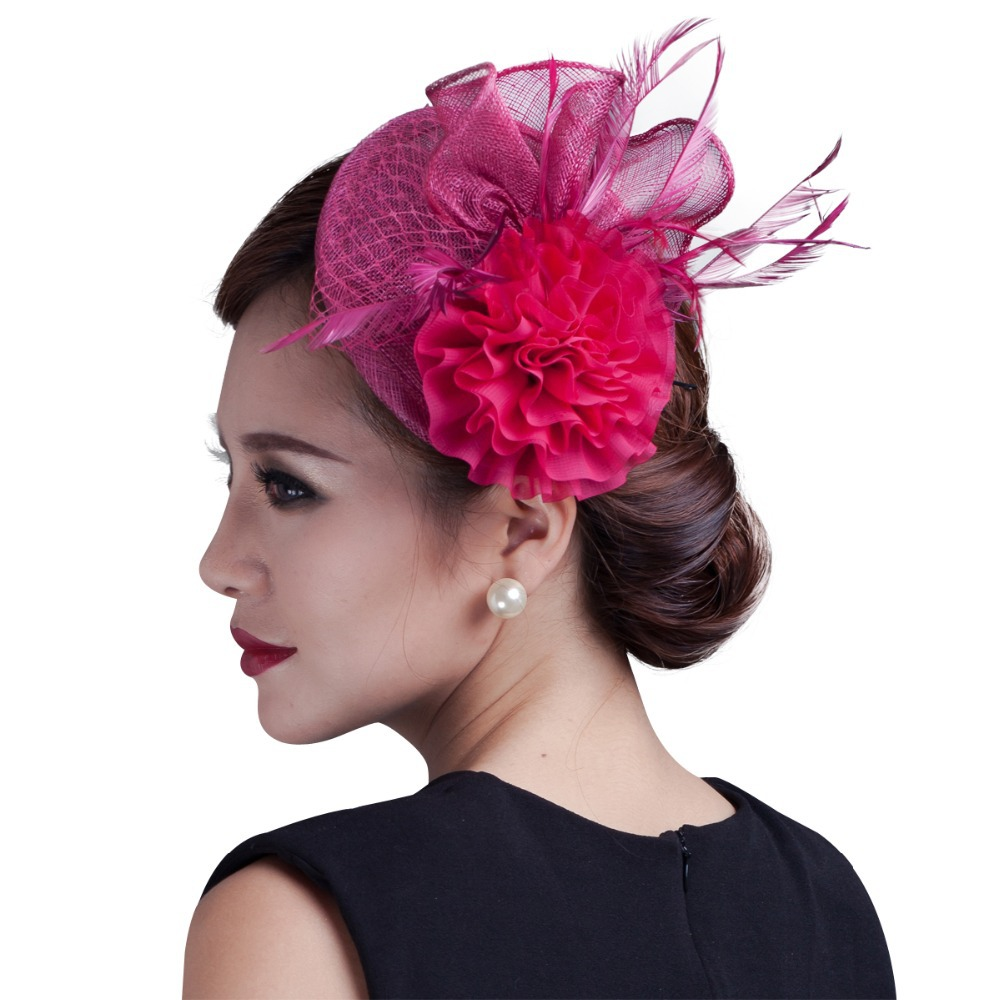 2018 women ivory chiffon flowers Fascinator with feather ladies sinamay hair  fascinators wedding and party-in Women s Hair Accessories from Apparel ... 322beca1fbb