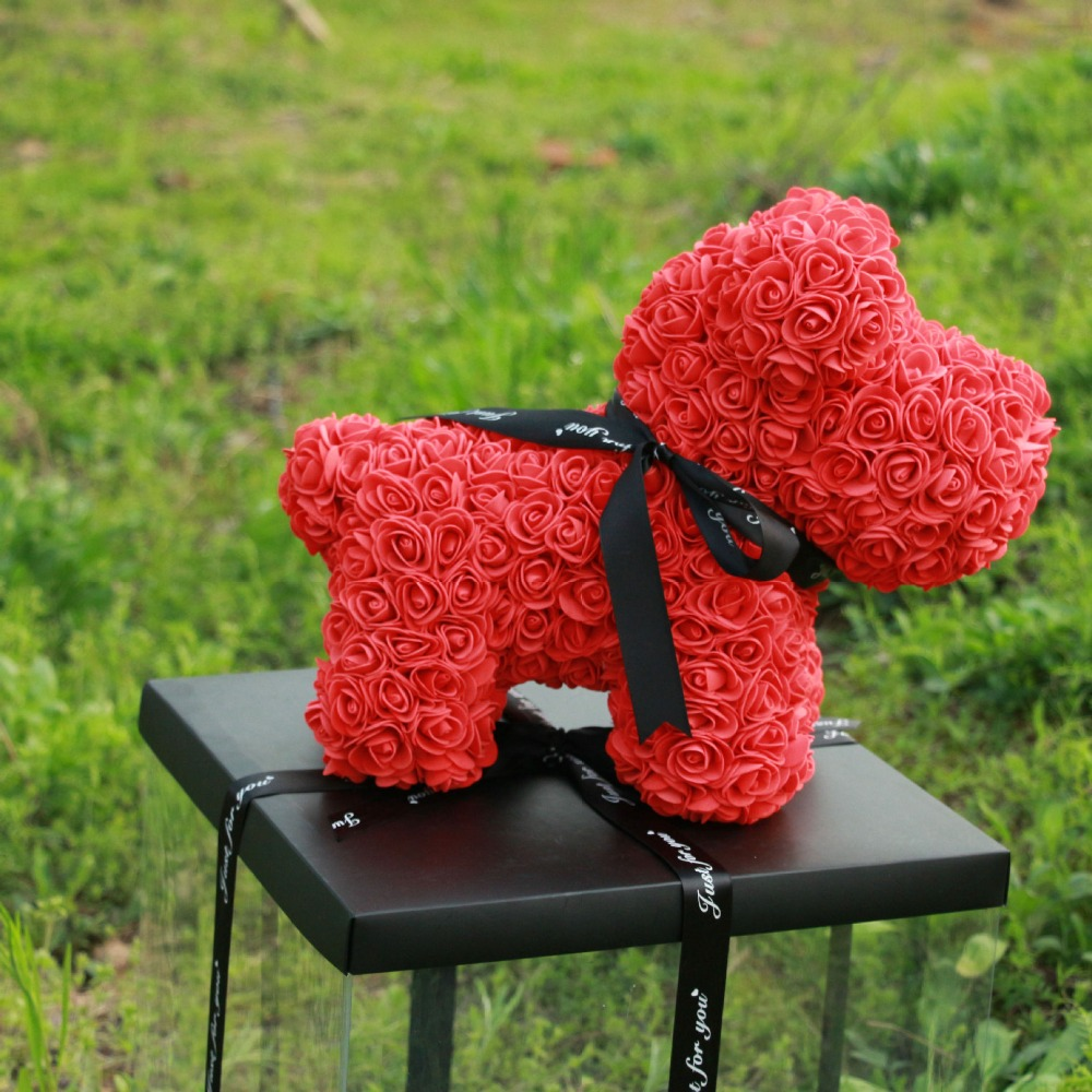 40cm Rose Dog 2018 Valentines Gift PE Lucky dog for Wedding Girlfriend Anniversary party show