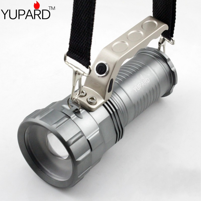 YUPARD XM-L2 LED T6 LED zoomable Flashlight Spotlight Searchlight Torch  bright  For 18650 rechargeable battery free shipping cree xm l t6 bicycle light 6000lumens bike light 7modes torch zoomable led flashlight 18650 battery charger bicycle clip