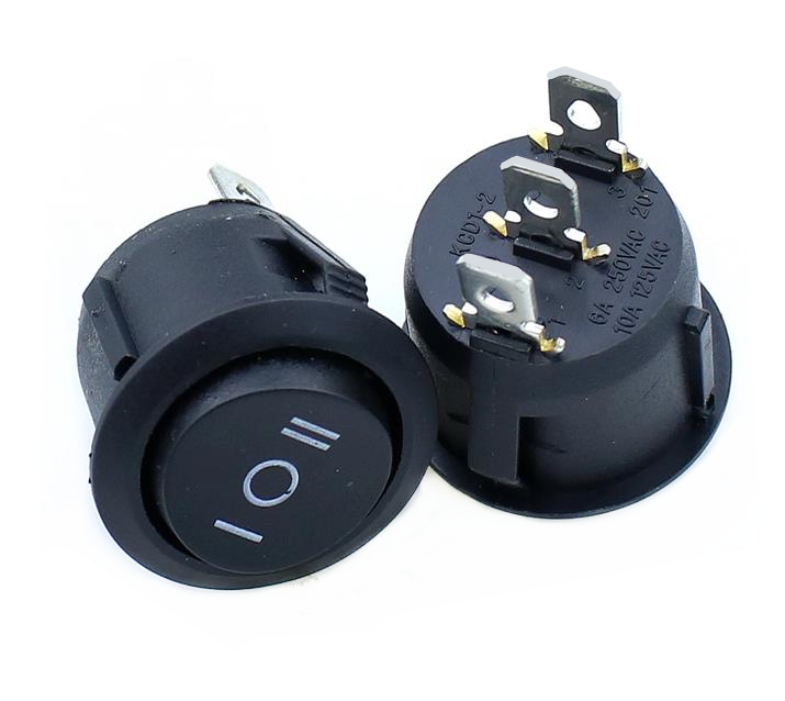 5PCS  KCD1  Round Black 3 Pin SPST 3 Position ON-OFF-ON 2 Position ON-OFF Rocker Boat Switch 6A 220V 10A 125V