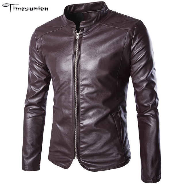2016 Men's Popular Handsome Artificial Leather Jacket Punk Style New Red Leather Jackets Zipper Men Chupas Jaqueta De Couro 5xl