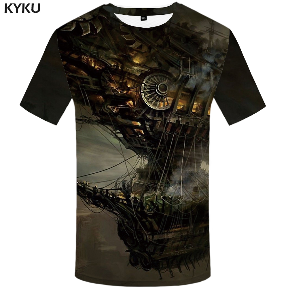 KYKU Spacecraft   T     Shirt   Men Mechanical Tshirt Funny   T     Shirts   Hip Hop Tee Streetwear Mountain 3d   T  -  shirt   Black Mens Clothing 2018