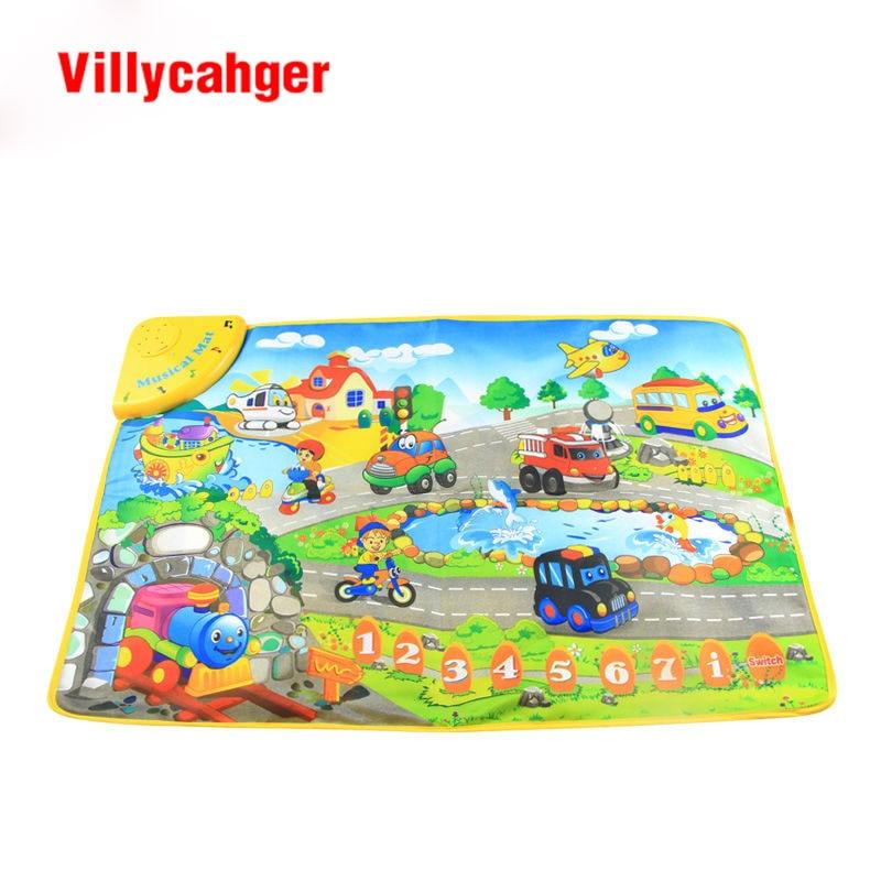 Free shipping cm baby Music car Voice Singing play mat baby game carpet baby Travel