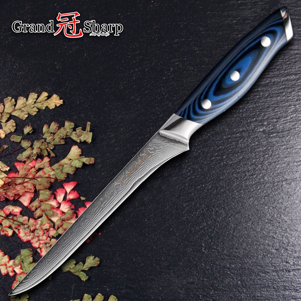 Damascus Kitchen Knife Boning Knife Japanese Damascus Vg10 Kitchen Knives Filleting Slicing Cooking Tools Butcher Knife Blue NEW