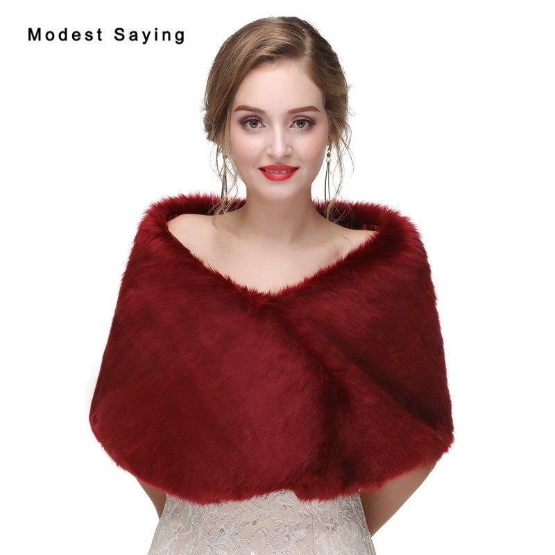 Elegant Wine Red Faux Fur Wedding Boleros 2017 New Formal Bridal Shawls Women Jackets Warm Wraps Outerwear Wedding Accessories
