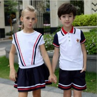 Kindergarten 2017 Summer Suit Students Class Uniforms British Academy Style Boys Girls Set