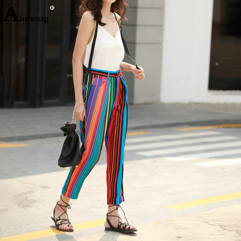 Casual Chiffon Harem Pants Loose Color Striped High Street 2019 Summer Autumn Women Ankle Length Pants Female Rainbow Pants in Pants amp Capris from Women 39 s Clothing