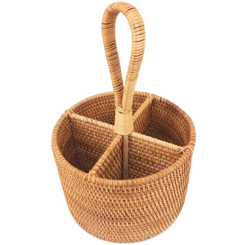 Hand-Woven Rattan Storage Basket Portable Round Four Compartment Storage Fruit Basket Fruit Basket Straw Gourmet Orchard Stora(China)