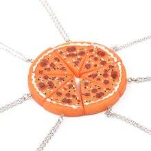 BFF Pizza Necklace Women Broken 7 Pieces Vintage Alloy Orange Long Necklace Gift For Best Friends families Necklaces Pendants цена и фото