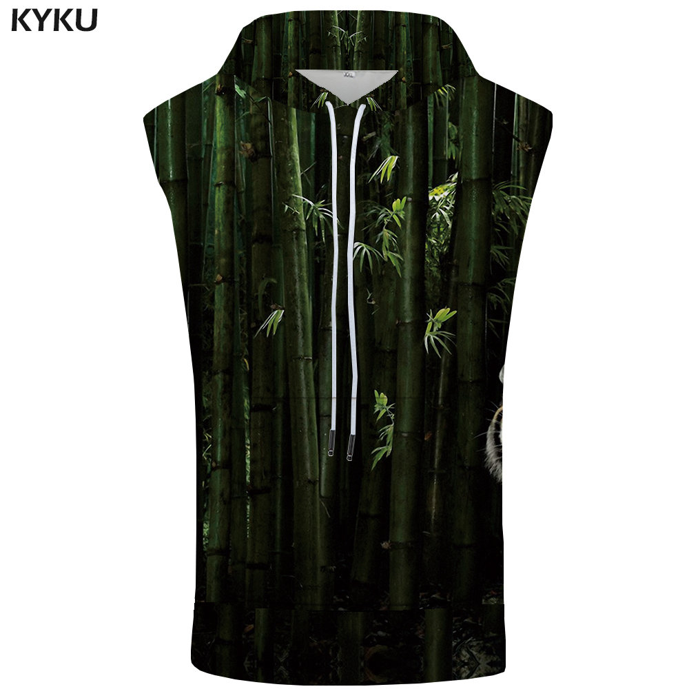 KYKU Tiger Hooded   Tank     Top   Men Animal Vest Chinese Style 3d Printed Singlets Funny Hip Hop Mens Clothing New Summer Casual   Tops