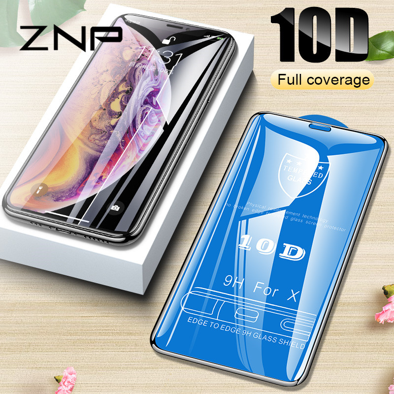 ZNP 10D Protective Glass on the For iPhone 6 6s 7 8 plus XR X XS glass full cover iPhone Xs Max Screen Protector Tempered Glass-in Phone Screen Protectors from Cellphones & Telecommunications