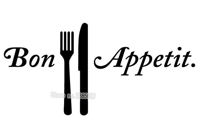 Bon Appetit Tableware Wall Sticker PVC Non-toxic Decal Living Room Dining Room Kitchen Art Home Decor Vinilos Paredes New LA348