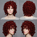 Womens Short Red Curly wig Natural Hair Cheap Afro kinky curly synthetic hair short Curly wigs For Black women Perruque  Cosplay