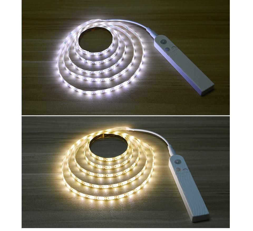 Светодиодный свет шкафа прокладки кабеля DC 5В USB или ААА батарейках гардероб Лента лампа датчик движения PIR обнаружения кровать кухня лестница