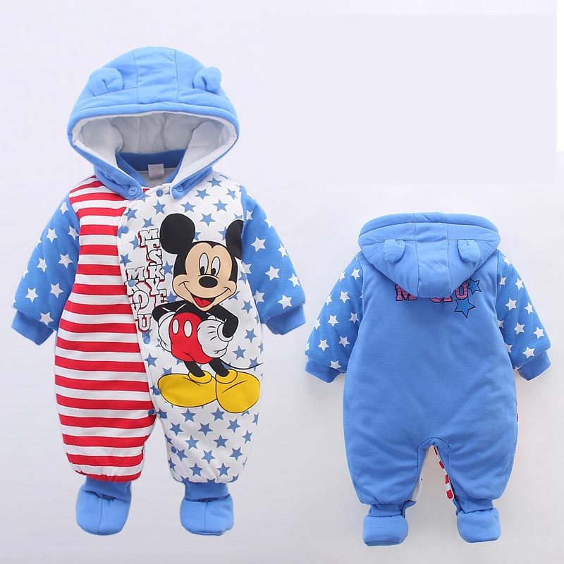 Baby Winter Romper 2016 New Brand High Quality Cartoon Cotton Thicken Warm Infant Bebe Jumpsuit Newborn Baby Boy Girl Clothes 3pcs set newborn infant baby boy girl clothes 2017 summer short sleeve leopard floral romper bodysuit headband shoes outfits