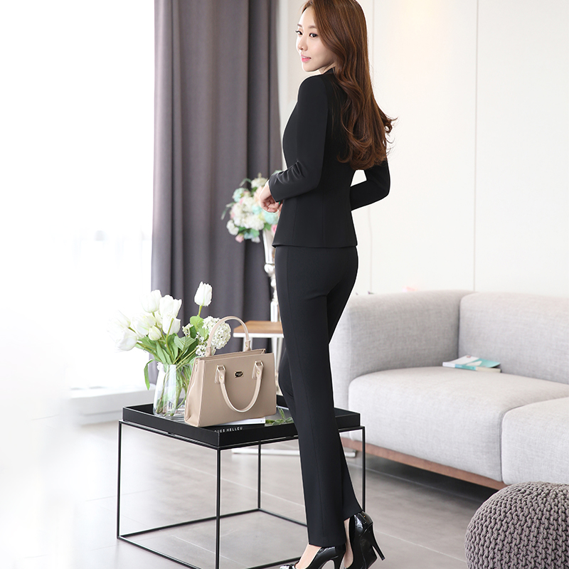 2 piece Gray Pant Suits Formal Ladies Office OL Uniform Designs Elegant Business Work Wear Jacket with Trousers Sets 2