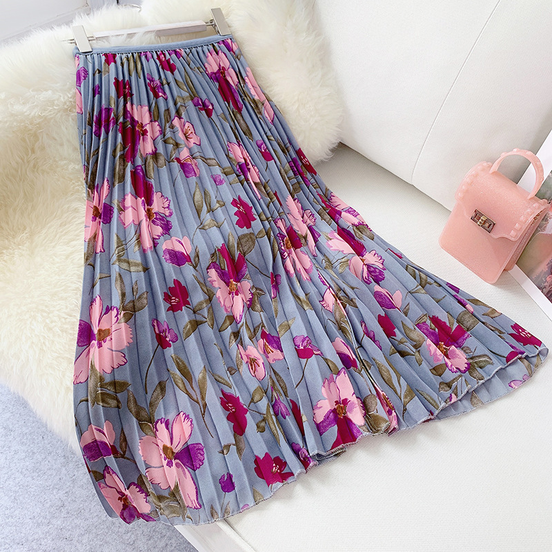 2019 Summer Women Long Pleated Skirts Vintage Floral Printted Skirt High Waist Flower Midi Skirt Korean Elegant Faldas Mujer