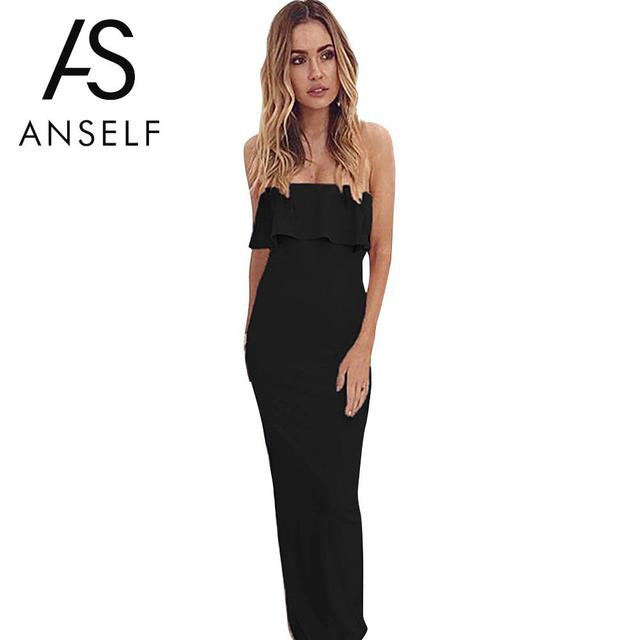 Anself Strapless Backless Summer Dress Sexy Women Off Shoulder Ruffle Maxi  Dress Solid Bandeau Evening Prom Bodycon Long Dress 515bf4c26
