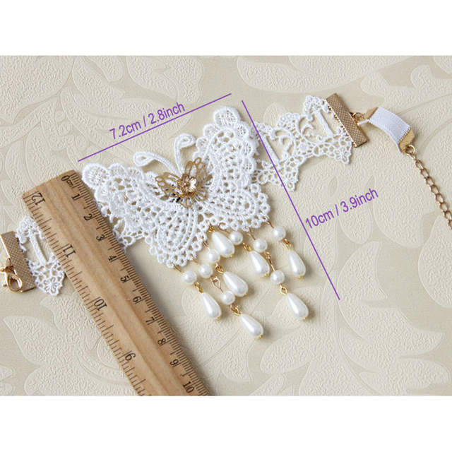 Womens Lady Handmade Dance Gothic Bridal Arm Band Armband Armlet Flower  White Lace Butterfly Beads Drop 1ad879b8f693