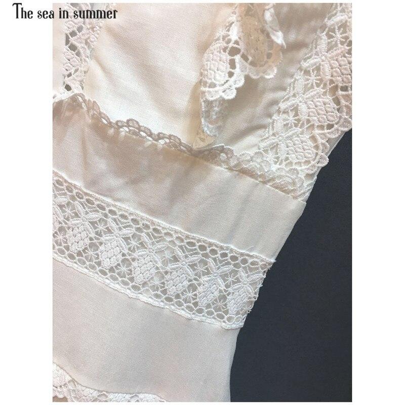 Haute Linge Vacances Élégant Noir 2019 blanc Col Printemps Rétro Dentelle Piste Manches Qualité Mini Sans Femmes V Robe De ZOZwqfC