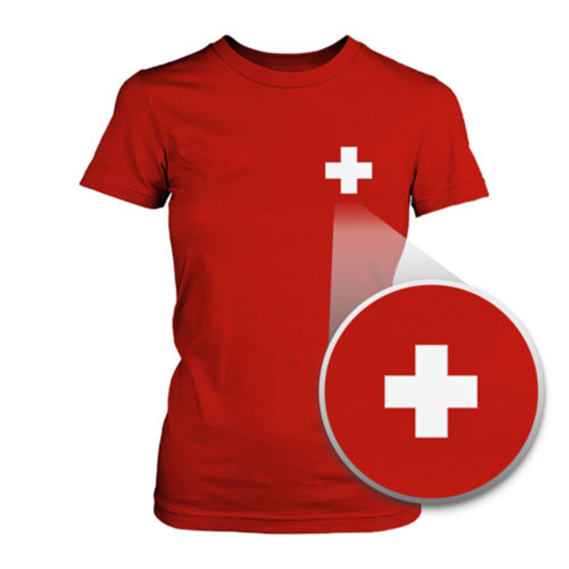 Switzerland flag pocket printed red tee women 39 s short for Shirts with custom logo