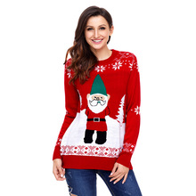 European and American fashion new Christmas knitted sweater with round neck and head coat printed long-sleeve women's swerter