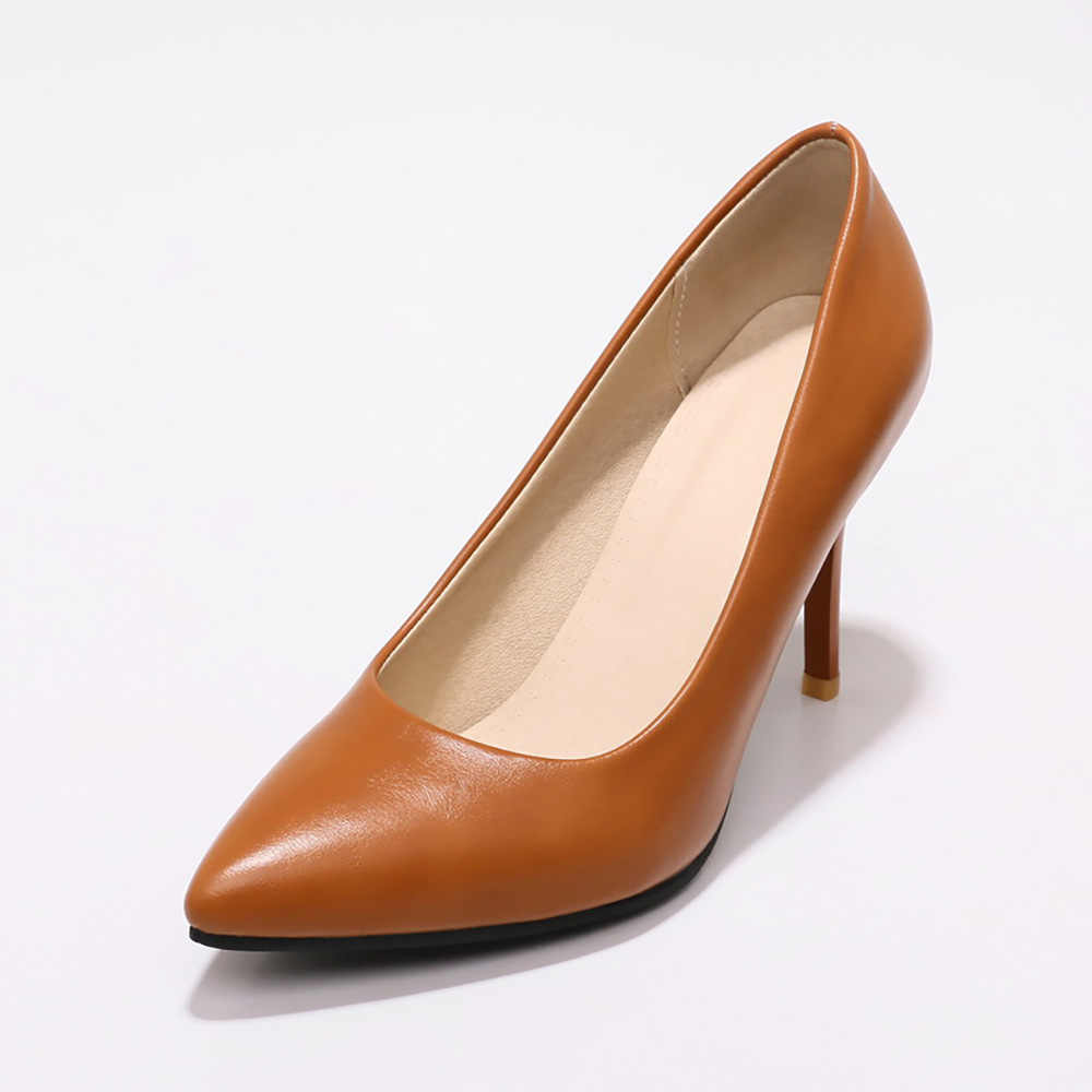 44c9a1c6be ... Brand New Elegant Yellow Brown Women Nude Pumps Black Super High Heels  Lady Office Shoes JF281 ...