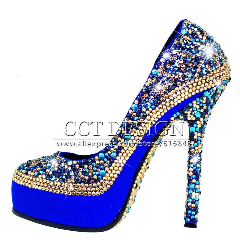 Something White Wedding Shoes Customized Sparkly Royal Blue High Heels Platform Party Evening Italian And Bag Set In Women S Pumps From On